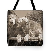 Golden Retriever Dogs The Kiss Sepia Tote Bag