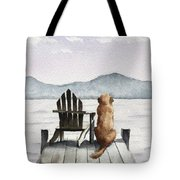 Golden Retriever On The Dock Tote Bag