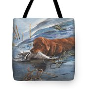 Golden Retriever With Duck Tote Bag