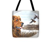 Golden Retriever With Marsh Scene Tote Bag