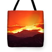 Golden Rocky Mountain Sunset Tote Bag