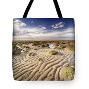Golden Sand Lines And Seaweed Rocks Of Norfolk Tote Bag