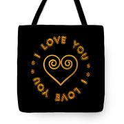 Golden Scrolled Heart And I Love You Tote Bag