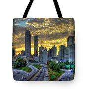 Golden Skies Atlanta Downtown Sunset Cityscape Art Tote Bag