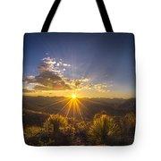 Golden Sunlight Desert Scene Tote Bag