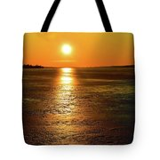 Golden Sunset Light On The Ice Two  Tote Bag