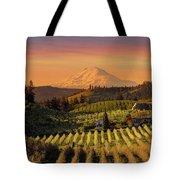 Golden Sunset Over Hood River Pear Orchard Tote Bag