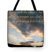 Golden Sunset With Verse Tote Bag