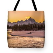 Golden Teton Sunset Tote Bag