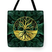 Golden Tree Of Life Yggdrasil On Malachite Tote Bag