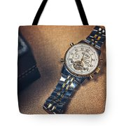 Golden Watch And Black Box Tote Bag
