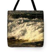 Golden White Wave Tote Bag