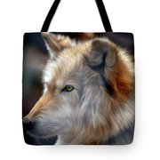 Golden White Wolf Tote Bag