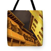 Golden Yellow Night - Chic Zigzags Of Oriel Windows And Serrated Roof Lines Tote Bag