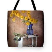 Goldenglow Flowers In Blue Vase Tote Bag
