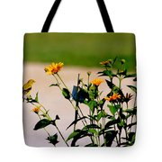 Goldfinch And Yellow Flowers Tote Bag