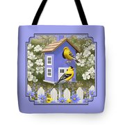 Goldfinch Garden Home Tote Bag by Crista Forest