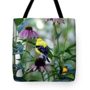 Goldfinch Visiting Coneflower Tote Bag
