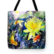Goldfishes Happily Swimming  Tote Bag