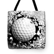Golf Ball Breaking Forcibly Through A White Wall. 3d Illustration. Tote Bag