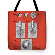 Golf Ball Patent Drawing Red Tote Bag