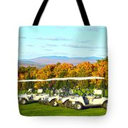 Golf Carts On Vermont Golf Course Tote Bag