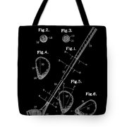 Golf Club Patent Drawing Black Tote Bag