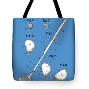 Golf Club Patent Drawing Blue Tote Bag