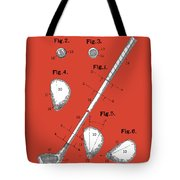 Golf Club Patent Drawing Red Tote Bag