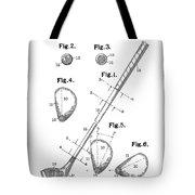 Golf Club Patent Drawing White Tote Bag