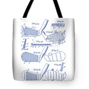 Golf Clubs Patent Drawing Tote Bag