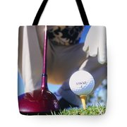 Golfer Sets Up His Shot Tote Bag