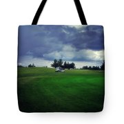 Golfing Before The Rain Golf Cart 01 Tote Bag