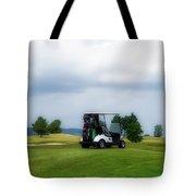 Golfing Before The Rain Golf Cart 02 Tote Bag