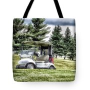 Golfing Before The Rain Golf Cart 03 Tote Bag
