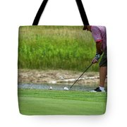 Golfing Chipping The Ball In Flight Tote Bag