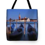 Gondolas And San Giorgio Maggiore At Night - Venice Tote Bag by Barry O Carroll