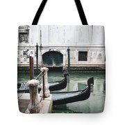 Gondolas On A Canal In Venice, Italy Tote Bag
