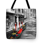 Gondolas On Venice. Black And White Pictures With Colour Detail  Tote Bag