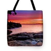 Gone Fishing At Sunset Tote Bag