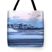 Good Harbor Beach And Thacher Island Covered In Snow Gloucester Ma Tote Bag