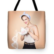 Good Looking Female Pouring Hot Coffee Love Tote Bag