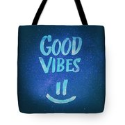 Good Vibes  Funny Smiley Statement Happy Face Blue Stars Edit Tote Bag