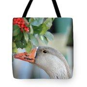 Goose Eating Berries Tote Bag