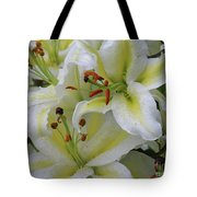 Gorgeous Cluster Of Blooming White Lilies In A Bouquet Tote Bag