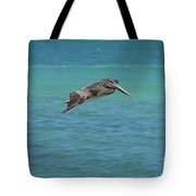 Gorgeous Grey Pelican With His Wings Extended In Flight  Tote Bag