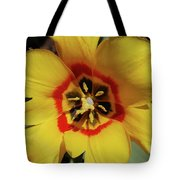 Gorgeous Look At The Center Of A Yellow Tulip Tote Bag