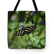 Gorgeous Zebra Butterfly On Some Blue Flowers Tote Bag