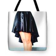 Gothic Black Satin High Low Skirt. Ameynra By Sofia Tote Bag