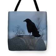 Gothic Blue Sky And Crow Tote Bag